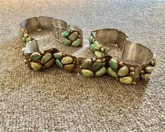"""$2,900 E&C Fierro, signed, sterling belt with turquoise stones (17  total links and a clasp). 35""""L with one spare link that is 2"""" long."""