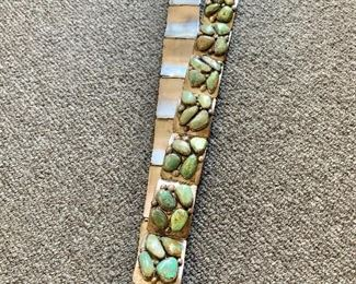 """Detail; E&C Fierro, signed, sterling belt with turquoise stones (17 total links and a clasp). 35""""L with one spare link that is 2"""" long."""
