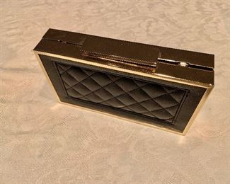 """$20 Sasha hard sided black leather quilted evening bag. 7"""" x 4"""""""