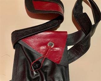 "$50 Annmarie Feld Geometric adjustable leather belt bag. Bag approx 6"" x 7"""