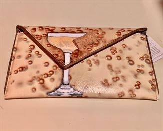"""$125 Kent Stetson champagne clutch, signed, new with tags. 10"""" x 7"""""""