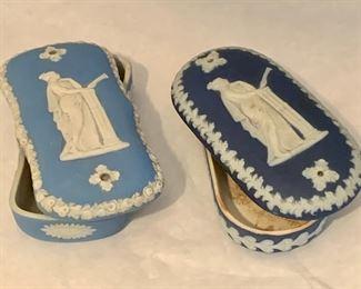 "Pair Jasperware trinket boxes - $45; Approx 5"" x 2.5 inches each; one light blue, one dark blue"