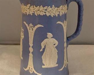 "$30 - Jasperware jug - 8 in tall, bottom diameter 4"""