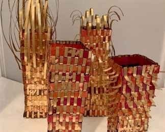 $95 each - Woven copper sculptured vessels - 12 inches to 7.5 inches: 4 available