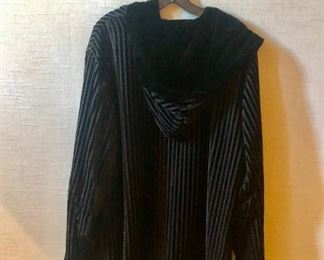 $40 - Detail; Back view. Reversible velvet jacket. Estimated size XL.
