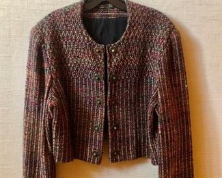 $60 - Kathleen Weir-West (Designer/ Weaver) multicolored jacket. Size 12