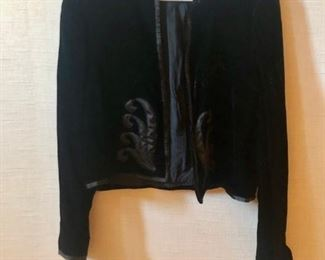 $40 - Velvet bolero jacket with appliqué. Estimated size x-small/small