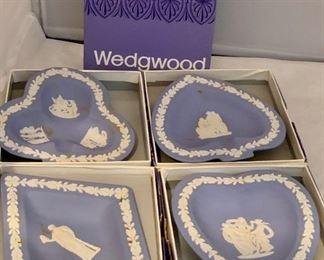 "Wedgwood Jasperware Sweet Dishes - $40: In box; diamond, heart, club and spade; each approx 4.5"" diameter"