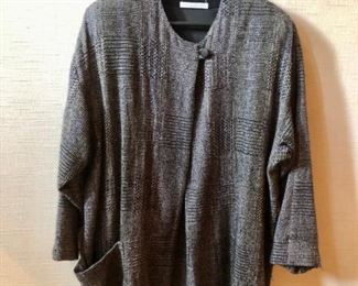 $60 - Kathryn Gremley one button woven jacket. Estimated size XXL