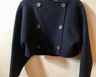 $125 - Vintage Geoffrey Beene double breasted navy blue bolero jacket. Size 8