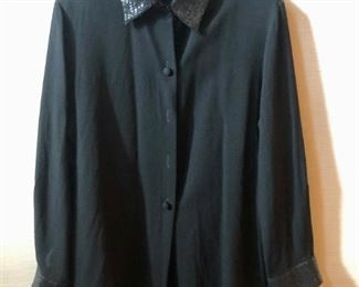 $40 - Linda Allard for Ellen Tracy black wool shirt with sequined collar and cuffs. Size 16