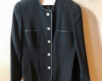 $40 - David Hayes black evening jacket with square rhinestone buttons and satin piping. Estimated size L/XL