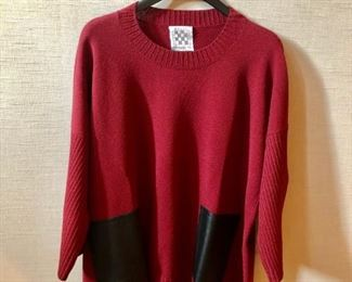 $40 - Barbara Wells studio red sweater with black leather pockets. Estimated size L/XL