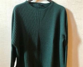 $40 - Eileen Fisher green cashmere ribbed sweater. Size L