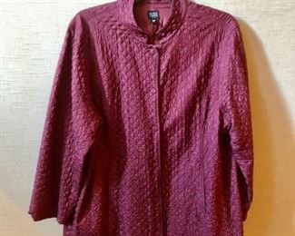 $50 - Eileen Fisher Woman cranberry silk jacket with magnet closures. Size 2X