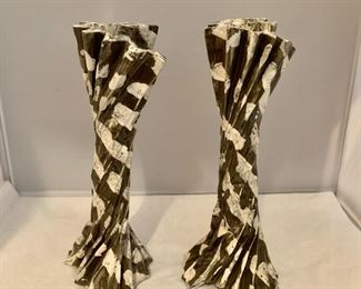 $80; pair;Hand built ceramic candlestick, signed; approx 11 inches tall