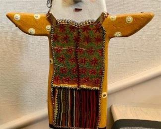 "$1,450 KeKe Cribbs wood sculpture;  25"" high, 15"" wide"