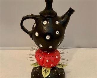 "Laura Peery ""pincushion tea"" $95; 8.5 in high"