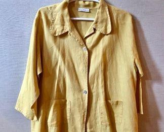$30 - Bryn Walker yellow with soft blue stripe linen shirt. Estimated size XL/XXL