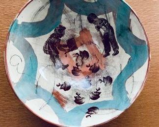 "$40 - 3""H x 7""D - hand painted ceramic bowl"