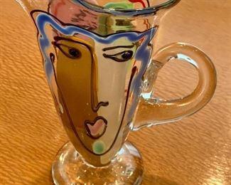 """$95 -7""""H x 5.5""""W - Bernstein Art Glass Face Pitcher - Blown glass"""