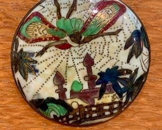 """$850; Wedgwood Fairyland lustre brooch/pendant with sterling silver surround by Daisy Makieg Jones. 2""""D"""