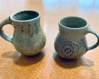 """$20 for pair - Mark Hewitt Pottery  glazed small mugs (stamped WMH) Left 4""""H, right  3.5""""H"""