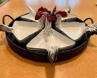 """$50 - Five piece rooster serving set with basket.  Basket 13""""D"""