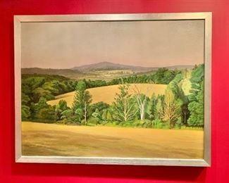 """$1,600 Vincent Arcilesi; Original oil landscape, signed Arcilesi dated 1977; 51"""" W x 39"""" H"""