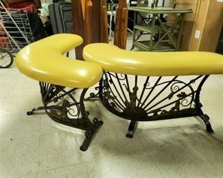 """$300 Pair of curved wrought iron benches ; each is 41"""" W x 18"""" H x 12"""" D and ottomans"""