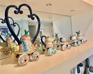 """$700 Teresa Bergen ceramic art (Canadian); Tea Time Train; signed by the artist; 21""""H x 51""""L To learn more about the artist: http://studio21.ca/artists/teresa-bergen/"""
