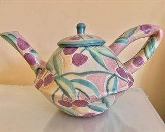 """$135 ; T.S. Post glazed stoneware teapot; works in the Renwick Collection and NY Museum of Art & Design; 7""""H x 13""""W"""