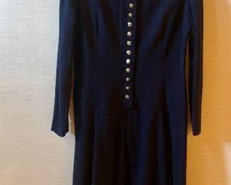 $50 - Adele Simpson navy blue wool dress.  Size 14.