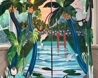 """$1,200 G. Gregory Little ; painted tropical folding screen ; 90"""" H x 93"""" W; www.greglittle.fineartstudioonline.com"""