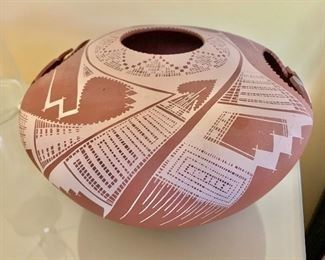 """$100 Native American style pierced stoneware vessel, signed. 7""""H x 11""""D"""