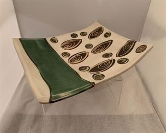 """$30 Susan Lindsay (North Carolina, USA). Hand formed tray on stand. Approx 12"""" x 12"""" x 4""""H"""