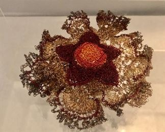 """$65 Knitted metal flower brooch.  Ideal for a coat. 5""""D"""