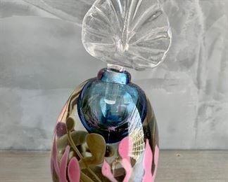 """$30; Art glass Perfume bottle; 6""""H"""