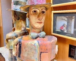 """$750 Signed, hand built clay figure with hat 29""""H x 15""""W x 7.5""""D"""