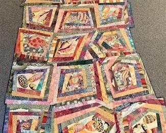 "$100 -  Donna Radner ""Ocean Adventure""; Original fabric art hanging;"