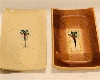 "Hand made glazed ceramic appetizer trays - $40; set of 2; 9.5"" x 4.5"" each"