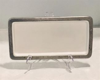 """Small Arte Italica Serving Tray - $45; Approx 12"""" x 6.5""""; Ceramic with distressed metal frame"""