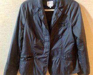 Armani Collezioni black three button light jacket. Size 8