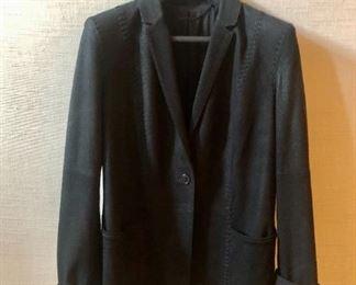 Elie Tahari black suede single button blazer. Size M