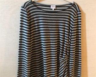 $65 Armani Collezioni black and gray striped top with black sequin thread. Size 10