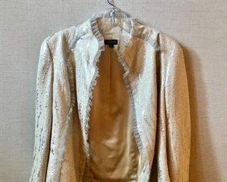 $175 Douglas Hannant champagne with silver accents cocktail jacket. Size 6