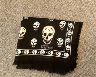 $200 Alexander McQueen wool, silk and cashmere fringed scarf