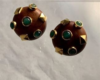 """Vintage wooden clip earrings - $45; signed; approx 1"""" diameter"""
