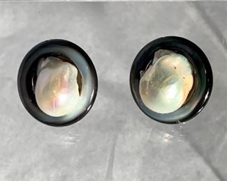 "Large baroque pearl earrings - $175; Approx 1.25 "" diameter. Clip backs."