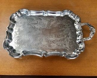 """$120 Eton Silver Company electric silver plate serving/warming tray with handle and feet. Cord missing. 21.25""""L x 4""""H at handle"""